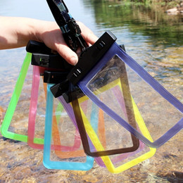 Wholesale Waterproof Iphone Case Floats - Drifting mobile phone waterproof bag clip waterproof diving swimming float bag touch screen camera phone bag