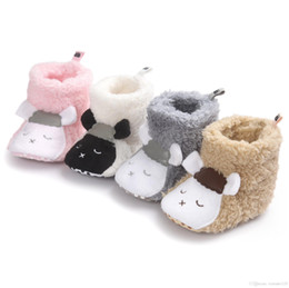 Wholesale Wholesale Animal Print Boots - 6 colors new arrivals soft sole kids Girl Boy baby first walkers winter warm little sheep and panda design baby kids boots