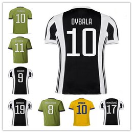 Wholesale Camisetas Army - Thailand quality Maglia DYBALA jersey New 17 18 home Away blue Camisetas De foot Yellow Soccer jersey 2017 MARCHISIO HIGUAIN shirt