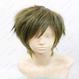Wholesale Gray Short Cosplay Wigs - Fashion Costume Wig Makoto Tachibana Short Straight Linen Gray Green Layered Cosplay Wig ePACKET Free Shipping