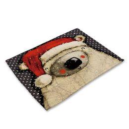 2017 manteles individuales de Navidad para niños. Lindo algodón y lino con aislamiento térmico. Ajuste de manteles coloridos para manteles infantiles. desde fabricantes