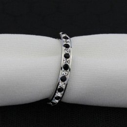 Wholesale Cheap Stencils - ORSA New Hot Female Black&Clear Crystal Eternity Rings Titanium Steel Women Wedding Band Rings OTR73 Cheap ring stencil