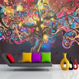 Декоративные обои для спальни онлайн-Дерево жизни Фото обои психоделические обои пользовательские 3D настенная роспись стены искусства спальня отель бар магазин Арт-рум декор природные пейзажи обои