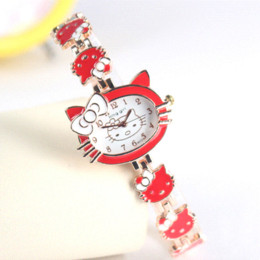 Wholesale Kitty Girl Vintage - 2016 New Hello Kitty Watches Fashion Ladies Watch Vintage Kids Cartoon Wristwatches Analog King Girl Brand Quartz women