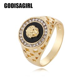 Wholesale Finger Head - 2017 New Arrival mens ring fashion hip pop Medusa Head Gold  Silver Color Black male man Finger ring for men women Size 7-12