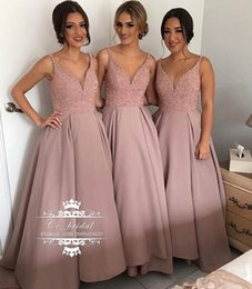 Wholesale Shine Wedding Gown - Sexy V-neck Long Bridesmaid Dress With Shining Beading Garden Country Style A-line Maid of the Honor Dress Cheap Wedding Party Gowns BD21