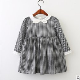 Wholesale Embroidered Long Sleeve Dress - Kids dresses preppy style children black white plaid princess dress girls BOWS collar lace embroidery long sleeve pleated dress R0273