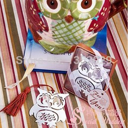 Wholesale Hollow Books - Wholesale- Free Shipping 24pcs lot Creative Hollow Out Owl Book Markers Stainless Steel Metal Bookmarks Wedding Favor Gifts with Tassels