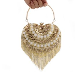 Wholesale Evening Dresses Upscale - The new 2016 diamond tassel pearl ring love heart-shaped diamond clutch evening bags upscale bride pack