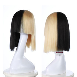 Wholesale Heat Resistant Wigs Blonde - SIA cosplay wigs synthetic wigs Blonde And Black Straight Synthetic Heat Resistant Hair wigs women fashion