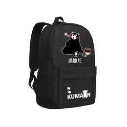Wholesale Japanese Anime Backpacks - Children Backpack Boys and Girls School Bag For Teenagers Black Oxford KUMAMON Backpack Japanese Cartoon Mochila Anime Shoulder Bag