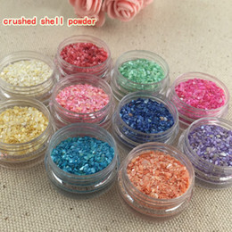Wholesale Crush Shell - 12 colors crushed shell powder For UV Acrylic System 3D Nail Art Decoration Free Shipping