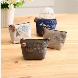 Wholesale Organizer Vintage - new Women's canvas bag Coin keychain keys wallet Purse change pocket holder organize cosmetic makeup Sorter B874