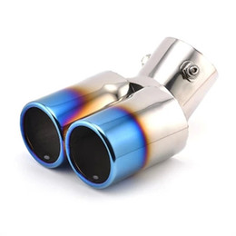 Wholesale Car Rio - For Chevrolet Cruze Aveo Ford Focus 2 Kia Rio K2 Mazda 6 5 Peugeot 207 307 Twin Curved Tailpipe Car Exhaust Tail Pipe Muffler