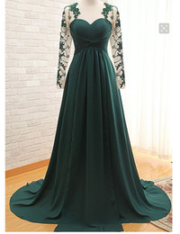 Wholesale Sweetheart Empire Sleeve - Hot Sale 2016 Green Evening Dresses Long Illusion Sleeve Sweetheart Lace Tulle Pleated Chiffon Empire Party Gowns Custom Made