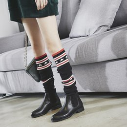 Wholesale Over Knee Socks Leather - New autumn winter 2017 Genuine Leather boots Sleeve knitted stretch socks Over-The-Knee Boots