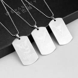 Wholesale Stainless Steel Rectangle Pendant - Hip hop necklace men chains Poke necklaces ornament accessories Rectangle Boy Fashion Stainless steel Valor Mystic cool ornament