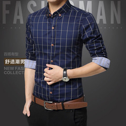 Wholesale Mens Yellow Plaid Shirts - Wholesale-Plaid Mens Shirts Fashion Style 100% Cotton 2016 Mens Dress Shirts Clothes Social Casual Shirt Men Brand Chemise Homme M-5XL