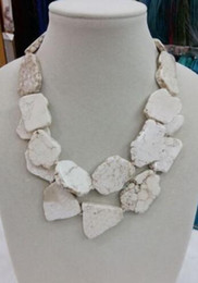 Wholesale Chunky Bib Necklaces - Charm Chunky White Turquoise Slice Handmade BIb Necklace Woman Handmade 18''