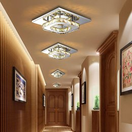 Wholesale Square Crystal Ceiling Lamp - Modern LED Crystal Ceiling Light Fixture Square Crystal Lamp 12W LED Pendant lamp for Hallway Corridor Asile LED Lighting Chandeliers