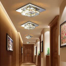 Wholesale Modern Square Ceiling Lights - Modern LED Crystal Ceiling Light Fixture Square Crystal Lamp 12W LED Pendant lamp for Hallway Corridor Asile LED Lighting Chandeliers
