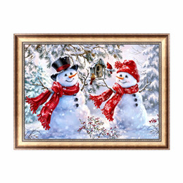 Wholesale Abstract Home Crafts - DIY 5D Snowman Diamond Painting Embroidery Cross Stitch Craft Home Decoration Paint for Bedroom Study Hallway Living Room Decor