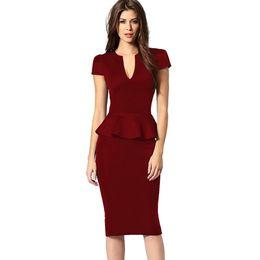 Wholesale Kim Kardashian V Neck Dress - Short sleeve peplum dress plus size v-neck pencil dress knee-length sexy ruffle bodycon dress midi kim kardashian dress