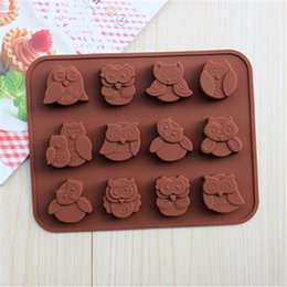 Wholesale Chocolate Lollipop Molds Wholesale - 12-hole Owl Shape Food Grade Silicone Chocolate Cake Mold Candy, Jelly, Lollipop Molds Diy Fondue Baking Tools