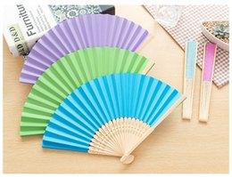 Wholesale Paper Chinese Folding Fans - Chinese Style Bamboo & Paper Pocket Fan Folding Hand Held Fans Outdoor Wedding Party Favor Free Shipping WA0861