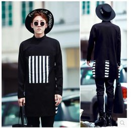 Wholesale Stripe Long Sweater Slim - Nightclubs hairstylist autumn right Zhilong same paragraph catwalk models in Europe and America Collar Stripes Men's long-sleeved sweater an