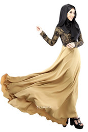 Wholesale Long Kaftan Cotton - New Nice muslim dress abaya autumn women kaftan islamic clothing Ethnic lace stitching maxi dress fake two-piece long pakistani dresses