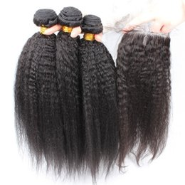 Wholesale Natural Yaki Hair Piece - 9A Grade Virgin Brazilian Afro Kinky Straight Hair With Closure 4Pcs Lot Italian Coarse Yaki Lace Top Closure Pieces 4x4 With Hair Bundles