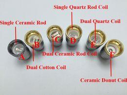 Wholesale E Cigaratte - Metal Dual Quartz Coil Head Ceramic Donut Replacement Core for Glass Globe tank Wax bulb Vaporizer E Cigaratte Dry Herb atomizer