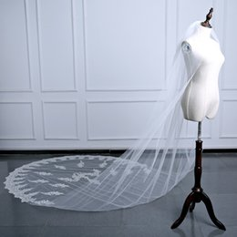 Wholesale Hot New Com - New Hot Selling Lace Applique Edge 2017 Veu De Noiva Longo Com Renda 3 Metros Wedding Veil Sequin Voile Mariage Beads Bridal Veil