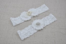 Wholesale Shabby Lace Flowers - Shabby Flower Baby Headband Set Matching pearl and Rhinestones Lace Elastic Hair Band Newborn Photography Props 10set lot QueenBaby