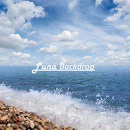 Wholesale Sea Photography Backdrops - 5X5ft(150x150cm)Sea Wave Blue Sky White Cloud Free shipping Vinyl Photography Background Backdrops backgrounds for photo studio F2640