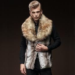 Männer pelz schal online-Cool Mens Faux Pelzweste Schalkragen Sleeveless Winter Outwear Weste Slim Fit Gestreiften Pelz Jacken Männer Ski Parkas CJF0928
