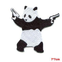 Wholesale Panda Embroidered - kung fu PANDA BEAR wielding pistols guns EMBROIDERED IRON-ON PATCH banksy
