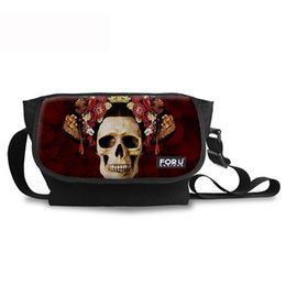 Wholesale Halloween Companies - Skull Print Tablet Messenger Bags for Teenagers Stylish Halloween Canvas and Polyester Shoulder Bag for Daily Carrying School and Company