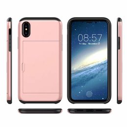 Wholesale Blue Grass Covers - For Iphone X 8 7 Plus Case Samsung Note 8 S8 Hybrid Card Armor Cover Dual Layer Sildes Cases