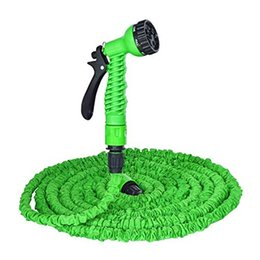 Wholesale Expandable Ft - Freeshipping Expandable 25 50 75 100 125 FT Magic Flexible Plastic Garden Water Hose Drip Irrigation Car Watering with Spray Gun