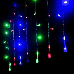 Wholesale New Egg Yellows - Christmas Lights Outdoor Decoration Curtain Waterdrop Icicle String LED Light 220V New Year Garden Xmas Wedding Party Holiday