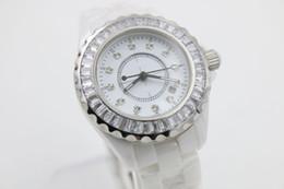 Wholesale Butterflies Clock - Special Sale Quartz Watch Women Ceramic Case Milky Dial Ceamic Band Female Clock Montre Homme