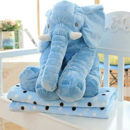 Wholesale Soft Stuffed Elephant Toy - 11Colors Elephant style Pillow + Blanket Set Soft Plush Blankets Animal Stuffed Toys Cartoon Sofa Bedding Throw Pillow Cushion