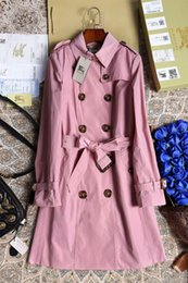 Wholesale Suspenders High End - Free Shipping New high-end women's wholesale women's windbreaker women's long coat jacket ladies double-breasted coat simple