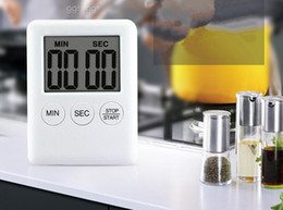 Wholesale Table Clocks Timer - 2 Colors Square Large LCD Digital Kitchen Timer Cooking Timer Alarm Clock Magnet Despertador Digital Table Clock Temporizador