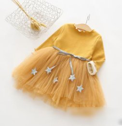 Wholesale Mesh Bows Christmas - Girls princess dresses kids Five-point star bows belt dresses children Sequins tulle mesh gauze splicing dress kids cashmere dress G1460