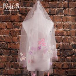 Wholesale Diamond Bead Ivory Wedding Veils - 2016 New show new Korean aesthetic color flower diamond wedding veil veil soft short short face covering veil