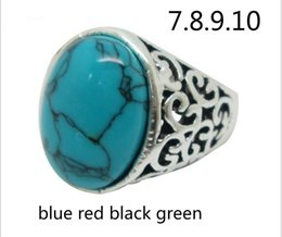 Wholesale Green Stone Prices - factory wholesale price typical blue red black green stone four color band ring 17 18 19 20 four size antique silver plated