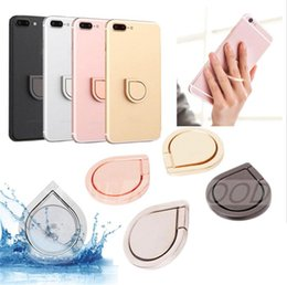 Wholesale Shaped Cell - Water Drop Shape Cell Phone Universal Rotating Finger Ring Bracket Stands luxury gold polar silver rose gold space grey